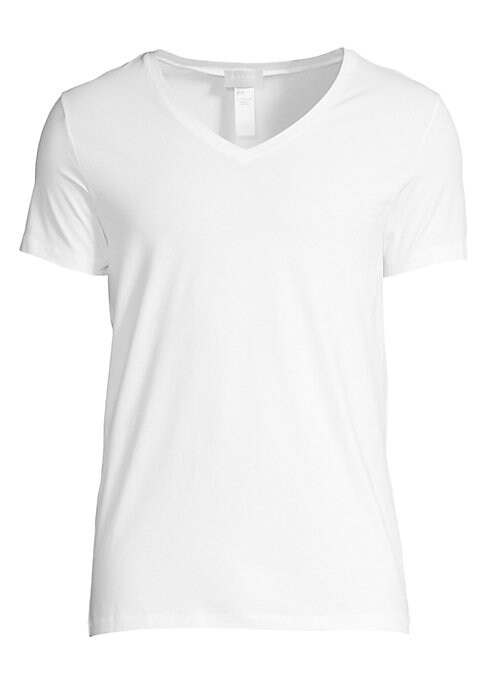 Image of .Basic knit tee crafted in cotton. .V-neck. .Short sleeves. .Cotton. .Machine wash. .Imported. .