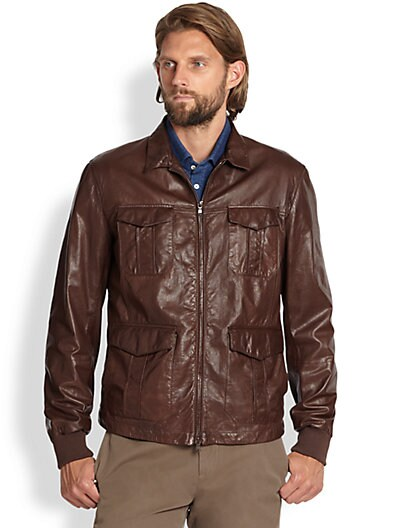 Brunello Cucinelli Sahara Leather Jacket   Brown