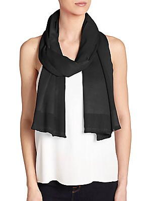 """Image of A blend of luxurious silk and cashmere, this colorful wrap energizes any warm weather outfit. 24""""W X 76""""L Cashmere/silk Dry clean Imported. Soft Accessorie - Day And Evening Wraps > Saks Fifth Avenue. Bajra. Color: Black."""