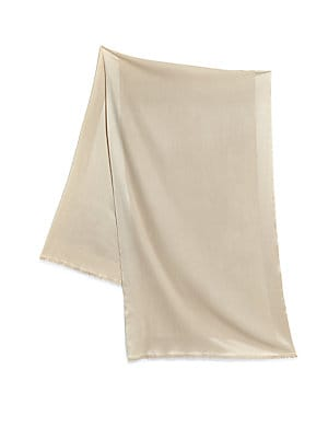 """Image of A blend of luxurious silk and cashmere, this colorful wrap energizes any warm weather outfit. 24""""W X 76""""L Cashmere/silk Dry clean Imported. Soft Accessorie - Day And Evening Wraps > Saks Fifth Avenue. Bajra. Color: Parchment."""