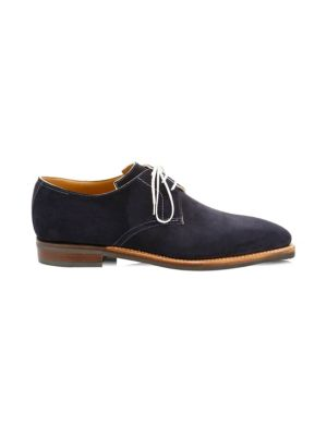 CORTHAY Sergio Pullman Suede Lace-Up Derby Shoes in Navy