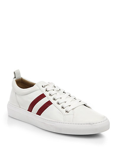 Perforated Trainspotting Lace-Up Sneakers in White