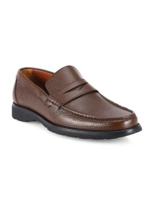 Image of Dapper penny loafers in smooth pebbled leather. Calf leather upper. Moc toe. Slip-on style. Nappa calf leather lining. Rubber sole. Made in Italy.