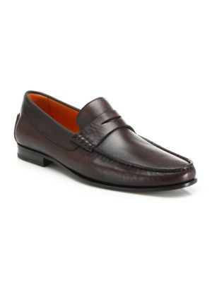 SANTONI Turner Leather Penny Loafers in Dark Brown