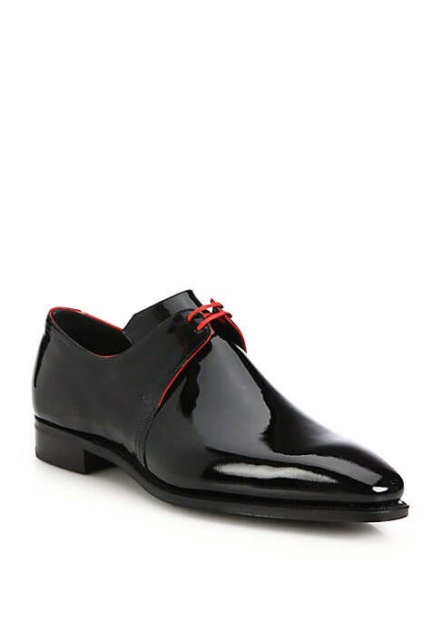 Image of EXCLUSIVELY AT SAKS. Slick patent lace-up with contrast piping. Patent leather upper. Red piping. Leather lining. Goodyear welted construction leather sole. Includes carved, sized and lasted wood shoe trees. Includes alternate color shoe laces. Made in Fr