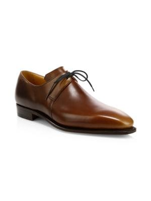 CORTHAY Arca Pullman French Calf Leather Piped Derby Shoes in Wood Brown