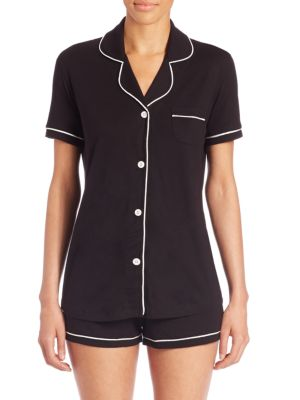 Bella Satin-Trim Short Pajama Set Amore9621, Online Only in Anthracite