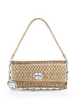 65e76224fece Miu Miu - Nappa Crystal Embellished Metallic Leather Shoulder Bag