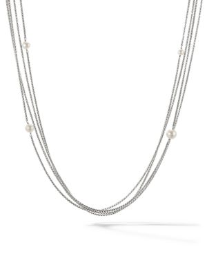 David Yurman Four Row Chain Necklace With Pearls