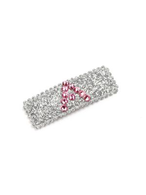 """Image of Add a flash of brilliance to her 'do with this personalized Swarovski-crystal and letter-adorned accessory. Swarovski-crystal adorned. About 2"""" long. Bend-to-snap clip closure. Made in USA of imported fabric."""