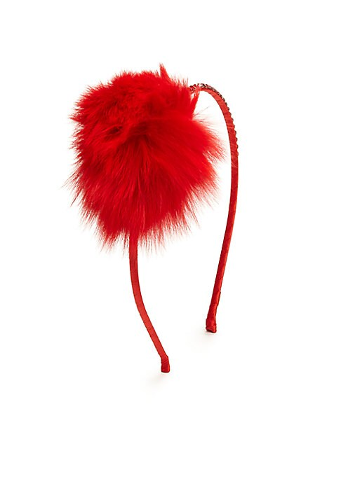 Image of .A fluffy, furry pom-pom atop a slender headband. Satin-wrapped band. Beaded embellishment. Fur pom-pom. Fur type: Dyed fox. Fur origin: China.