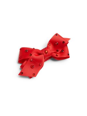 Girls Embellished Grosgrain Bow Clip