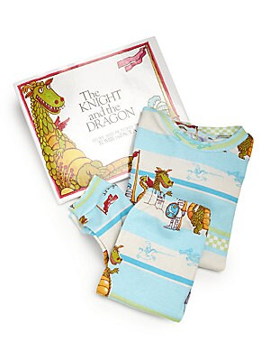 Image of A heartwarming picture book tale about the first fight between a not-so-fierce dragon and a sheepish knight, from author and illustrator Tomie DePaola. All set for gift-giving, this pajama and book set features a classic story. Cotton. Machine wash. Made