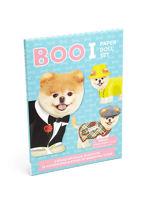 "Image of Dress up Boo and his best friend Buddy in 15 fabulous fashions and accessories, from beachwear to a tuxedo to PJs-and more. A stand-up wardrobe scene, complete with a Mylar mirror, makes this set perfect for play or display. Paperback.18 pages.7""W X 9.5""H"
