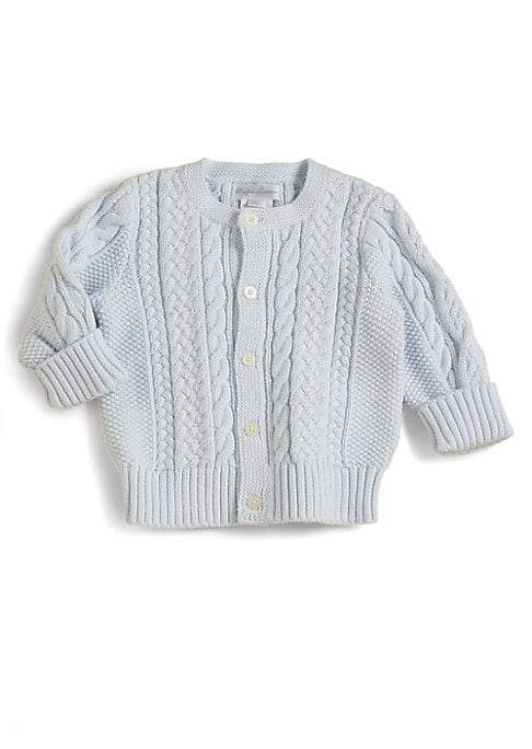Image of Beautifully cabled mercerized cotton knit in an utterly adorable shape keeps baby warm and chic all day. Front button closure. Long sleeves with ribbed cuffs. Banded and ribbed hem. Cotton; machine wash. Imported.