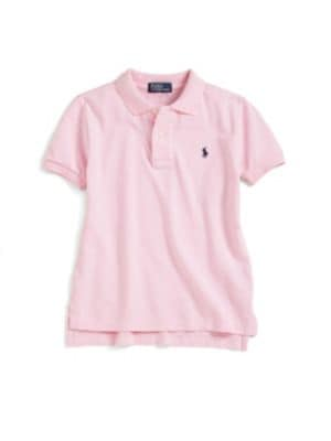 Image of Classic, short-sleeve cotton mesh polo with embroidered polo pony on the chest. Polo collar. Short sleeves. Button placket. Split hem. Pullover style. Cotton. Machine wash. Imported.