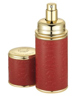 Creed Refillable Leather Goldtone Pocket Atomizer Red