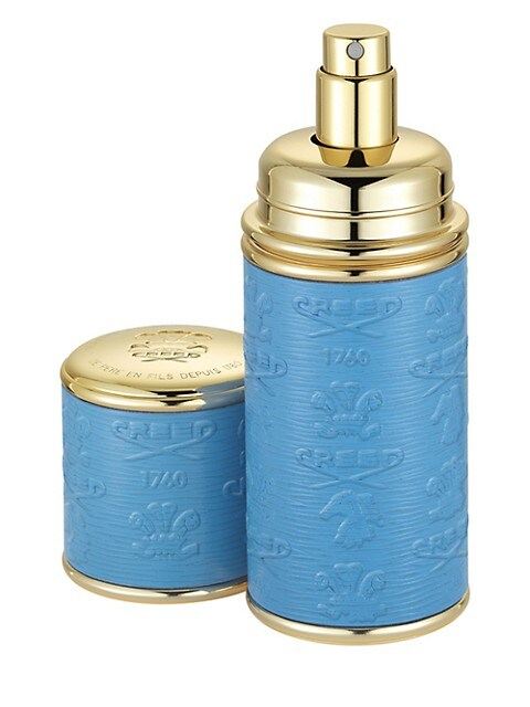 Blue with Gold Trim Leather Deluxe Atomizer