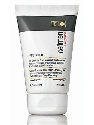 Image of ONLY AT SAKS. Gentle Foaming Dual Action Scrubbing Gel. Gently eliminates dead skin flakes and impurities. Refines skin texture Softens and reveals a healthly looking skin Prevents ingrown hairs. Cosmetics - Cellcosmet. Cellmen Switzerland.