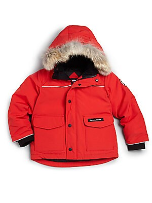 Image of A smart design in signature Arctic-Tech fabric offers superior protection in frigid, high-wind conditions featuring a detachable hood with removable natural coyote fur trim, reflective piping, two-way locking zipper, hand-warmer pockets and water-repellen