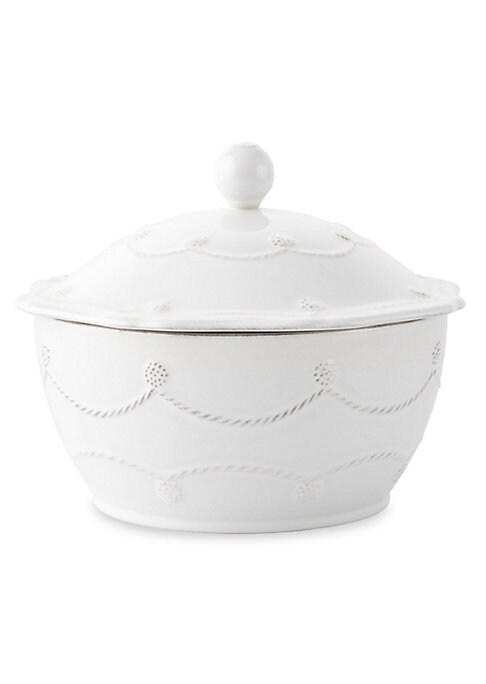 """Image of A beautiful, covered stoneware casserole is handcrafted to bring rustic detail and irresistibly romantic European charm to a dinner or party.1.5-quart capacity.4""""H x 8""""D.Dishwasher, oven and freezer safe. Imported."""