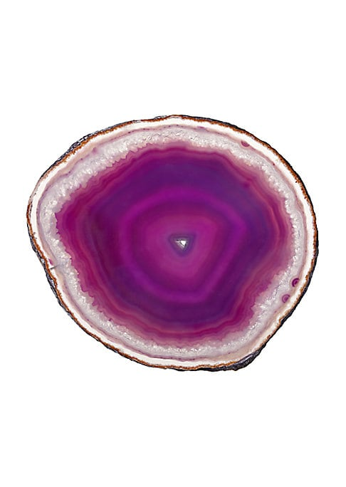 """Image of An ideal host or hostess gift, these semi-precious agate coasters are lovingly hand-polished in Brazil. Each vibrantly colored set is matched with attention to shape, pattern, and translucency for stunning visual impact. .4.5"""" diam. Agate. Rubber feet. Cl"""