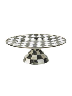Courtly Check Enameled Pedestal Platter