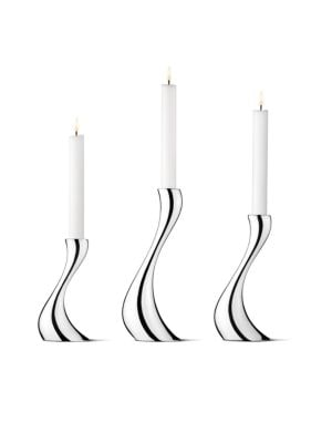Georg Jensen Cobra Candlesticks Set Of 3