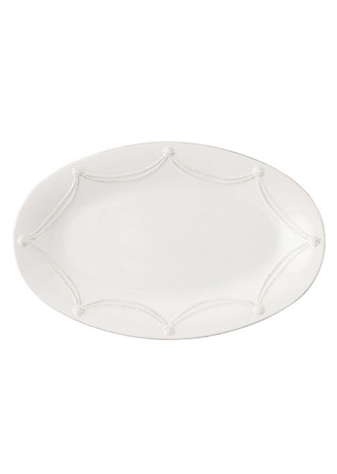 """Image of A beautiful stoneware platter is handcrafted to bring rustic detail and irresistibly romantic European charm to a memorable dinner or party.11½""""W X 18""""L.Dishwasher and oven safe. Imported."""