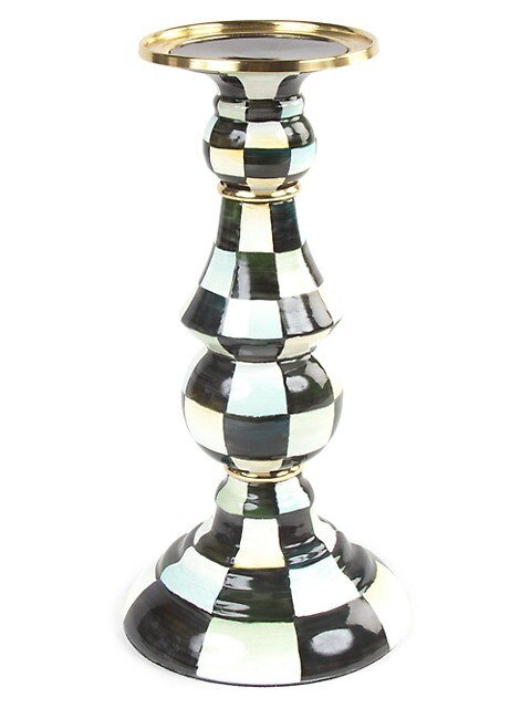 Courtly Check Enamel Pillar Candlestick - Large