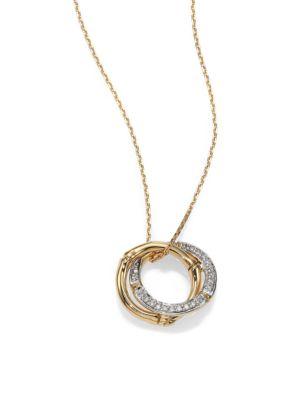 John Hardy Bamboo Diamond Amp 18k Yellow Gold Round Pendant Necklace