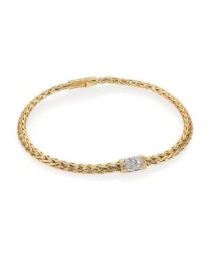 John Hardy Classic Chain Diamond 18k Yellow Gold Barrel Station Bracelet