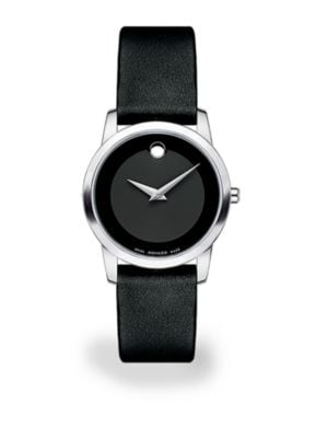 Museum Classic Stainless Steel Leather Strap Watch by Movado
