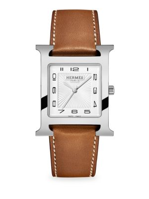 HERMÈS WATCHES Heure H, Stainless Steel & Leather Strap Watch in Natural
