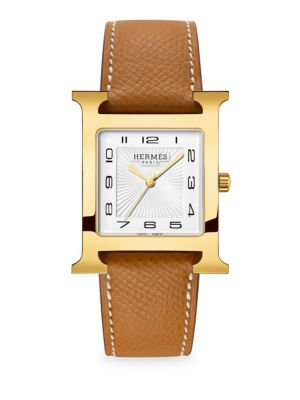 HERMÈS WATCHES Heure H, Goldplated & Leather Strap Watch in Gold Grained