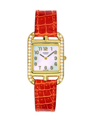 HERMÈS WATCHES Cape Cod Diamond, 18K Yellow Gold & Alligator Strap Watch in Orange