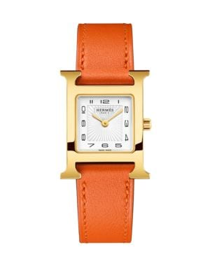 HERMÈS WATCHES Heure H, Goldplated & Leather Strap Watch in Orange