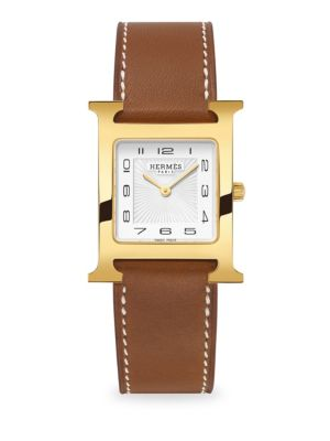 HERMÈS WATCHES Heure H, Goldplated & Leather Strap Watch in Natural