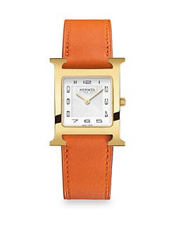 ae50575b1 HERMÈS. Heure H Goldplated   Leather Strap Watch