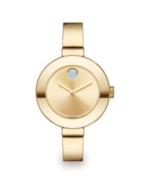 Movado Bold Crystal & Goldtone Ip Stainless Steel Bangle Bracelet Watch/34Mm