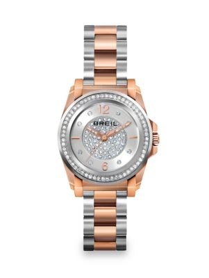 BREIL Manta Two-Tone Stainless Steel & Crystal Bracelet Watch in Rose Gold Silver