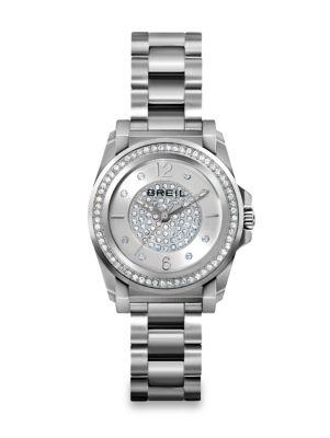 BREIL Manta Crystal & Stainless Steel Bracelet Watch in Silver