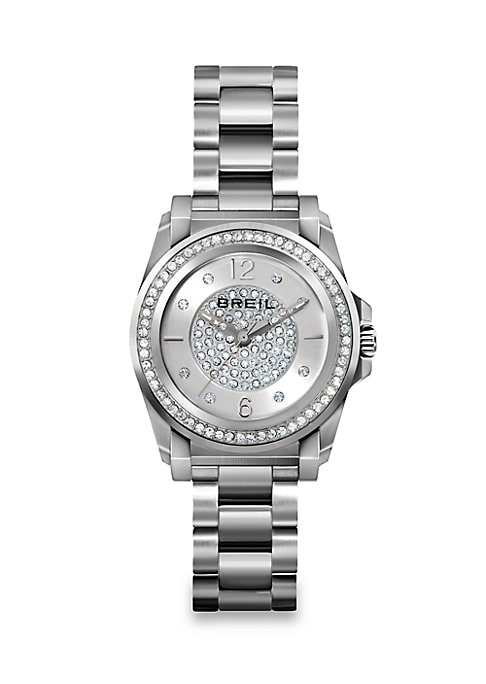 Image of From the Manta Collection. Swarovski crystal pave shimmers upon both the dial and bezel of this sleek stainless steel watch, the perfect glamorous accent to an everyday ensemble. .Quartz movement. Water resistant to 10 ATM. Round brushed stainless steel c