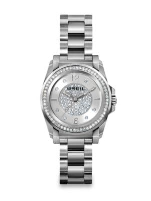 Manta Crystal & Stainless Steel Bracelet Watch