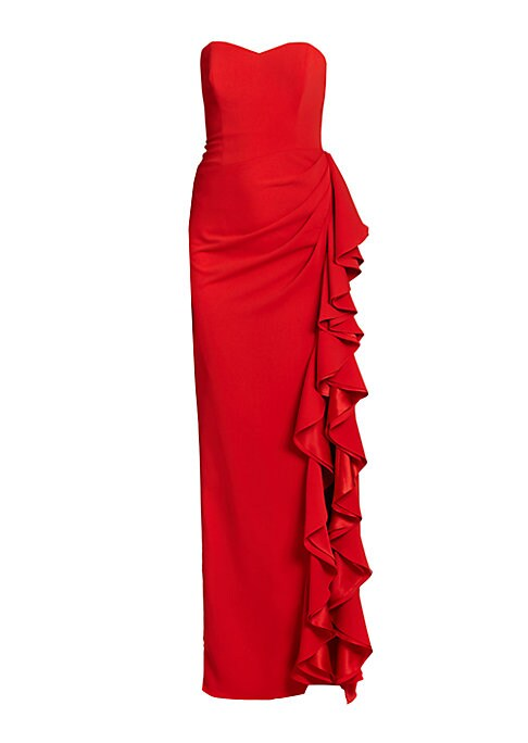"""Image of A gorgeous, cascading side ruffle makes a dramatic, glamorous statement. Strapless. Princess seams. Gathered hip detail. Ruffle-trimmed side slit. Fully lined. About 48"""" from natural waist to hem. Back zip closure. Polyester/spandex. Dry clean. Imported."""