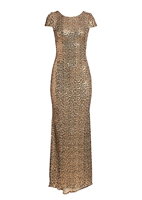 """Image of Classic breathtaking gilded-sequin gown with a slinky fit and draped at back. Boatneck. Short sleeves. Cowl-back detail. Concealed side zipper. About 48"""" from natural waist. Lined. Nylon. Dry clean. Imported. Model shown is 5'10"""" (177cm) wearing US size 4"""