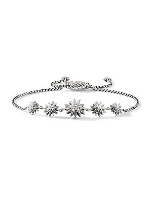 Image of From the Starburst Collection Sterling silver Pavé diamonds, 0.15 total carat weight 1.8mm box chain, adjustable length Spiritual cable clasp Imported. David Yurman - David Yurman Silver Ice. David Yurman. Color: Silver.