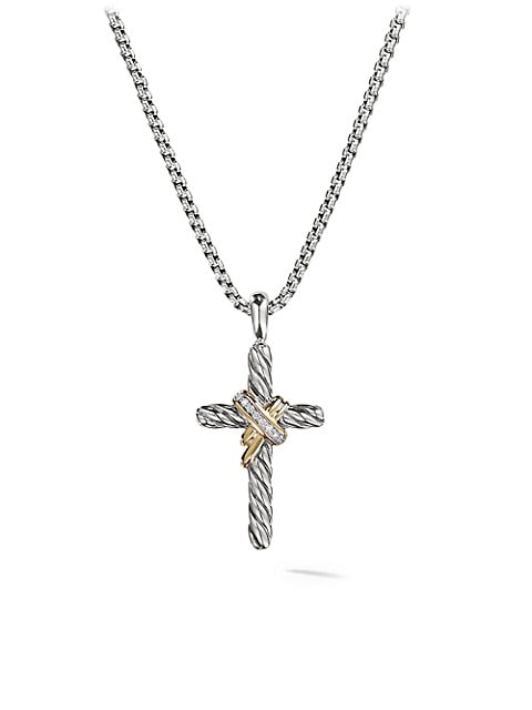 Cable Collectibles® X Crossover Cross With Diamonds & 14K Yellow Gold On Chain