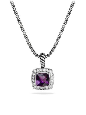 David Yurman Petite Albion Pendant Necklace With Diamonds In Amethyst