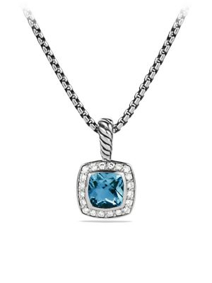David Yurman Petite Albion Pendant Necklace With Diamonds In Hampton Blue Topaz